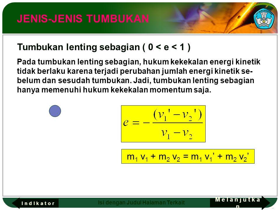 Adaptif Hal.: 14 Isi dengan Judul Halaman Terkait JENIS-JENIS TUMBUKAN Pada tumbukan lenting sebagian, hukum kekekalan energi kinetik tidak berlaku ka