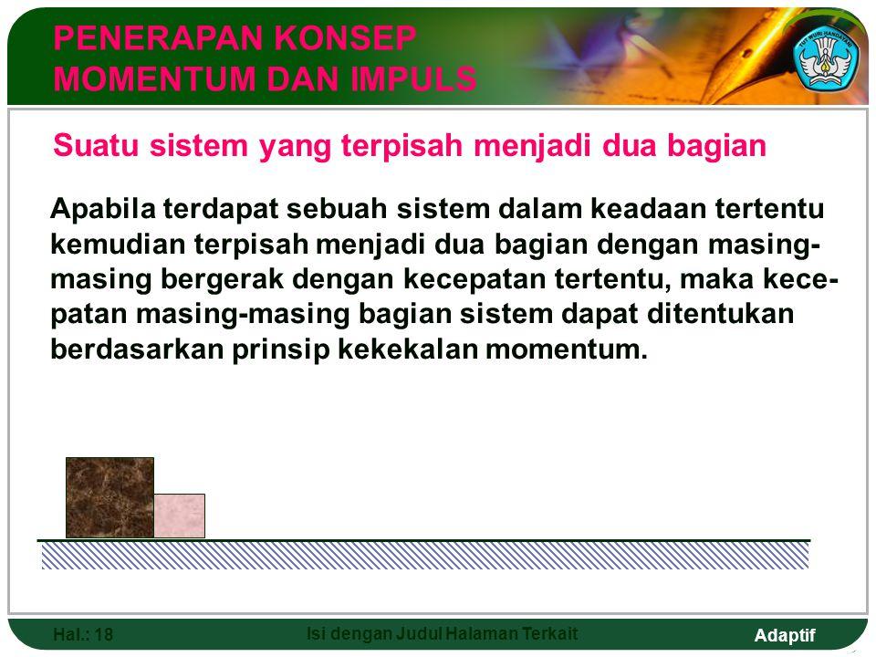Adaptif Hal.: 18 Isi dengan Judul Halaman Terkait Suatu sistem yang terpisah menjadi dua bagian PENERAPAN KONSEP MOMENTUM DAN IMPULS Apabila terdapat