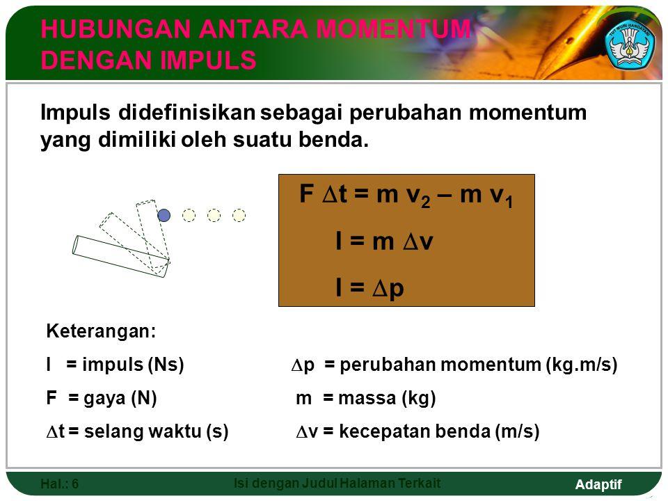 Adaptif Hal.: 6 Isi dengan Judul Halaman Terkait HUBUNGAN ANTARA MOMENTUM DENGAN IMPULS Impuls didefinisikan sebagai perubahan momentum yang dimiliki