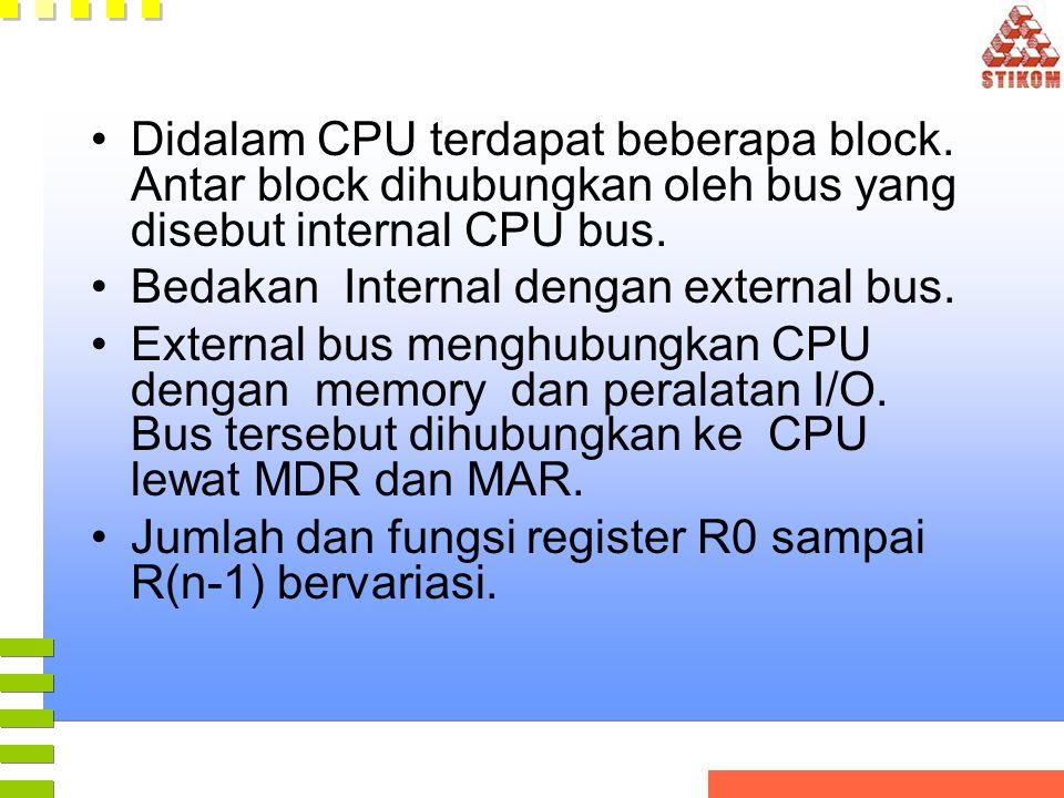 •Didalam CPU terdapat beberapa block. Antar block dihubungkan oleh bus yang disebut internal CPU bus. •Bedakan Internal dengan external bus. •External