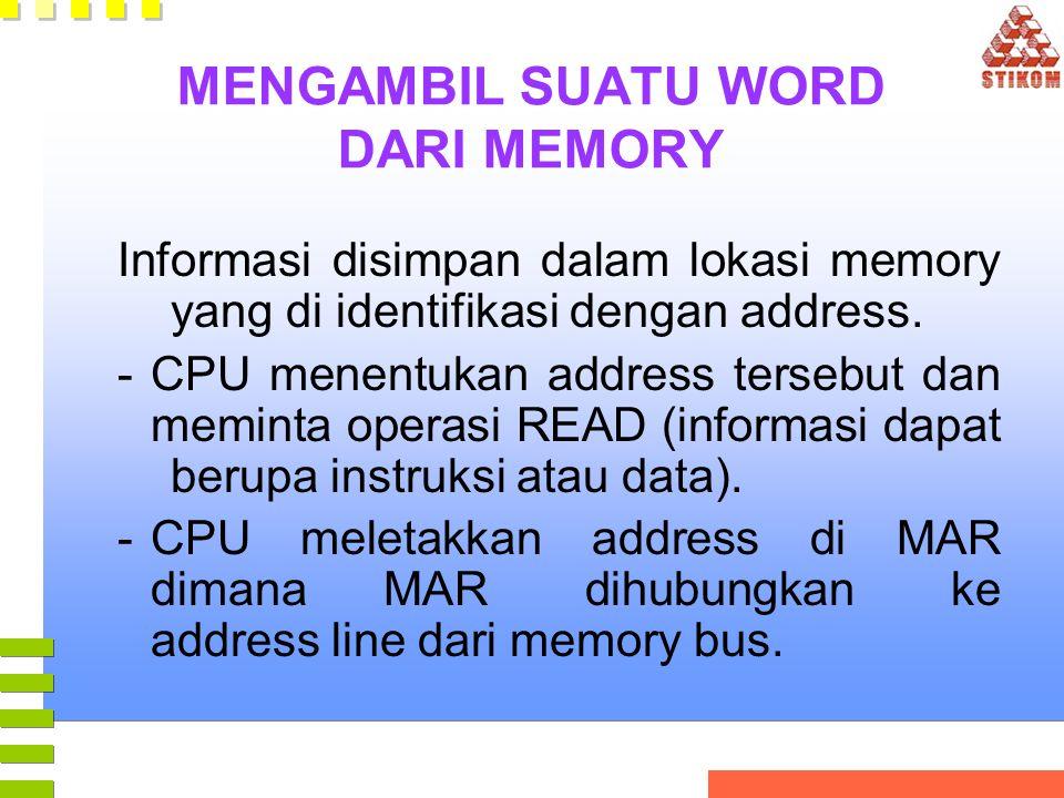 MENGAMBIL SUATU WORD DARI MEMORY Informasi disimpan dalam lokasi memory yang di identifikasi dengan address. -CPU menentukan address tersebut dan memi