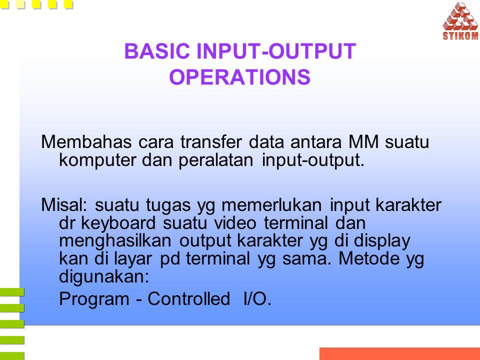 BASIC INPUT-OUTPUT OPERATIONS Membahas cara transfer data antara MM suatu komputer dan peralatan input-output. Misal: suatu tugas yg memerlukan input