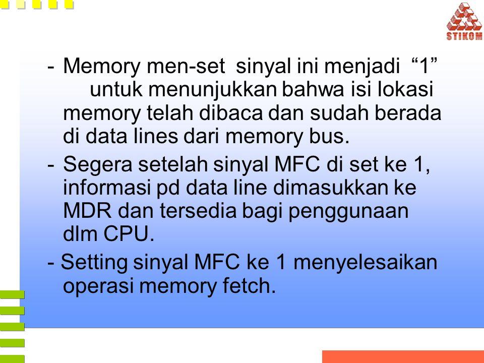 """-Memory men-set sinyal ini menjadi """"1"""" untuk menunjukkan bahwa isi lokasi memory telah dibaca dan sudah berada di data lines dari memory bus. -Segera"""