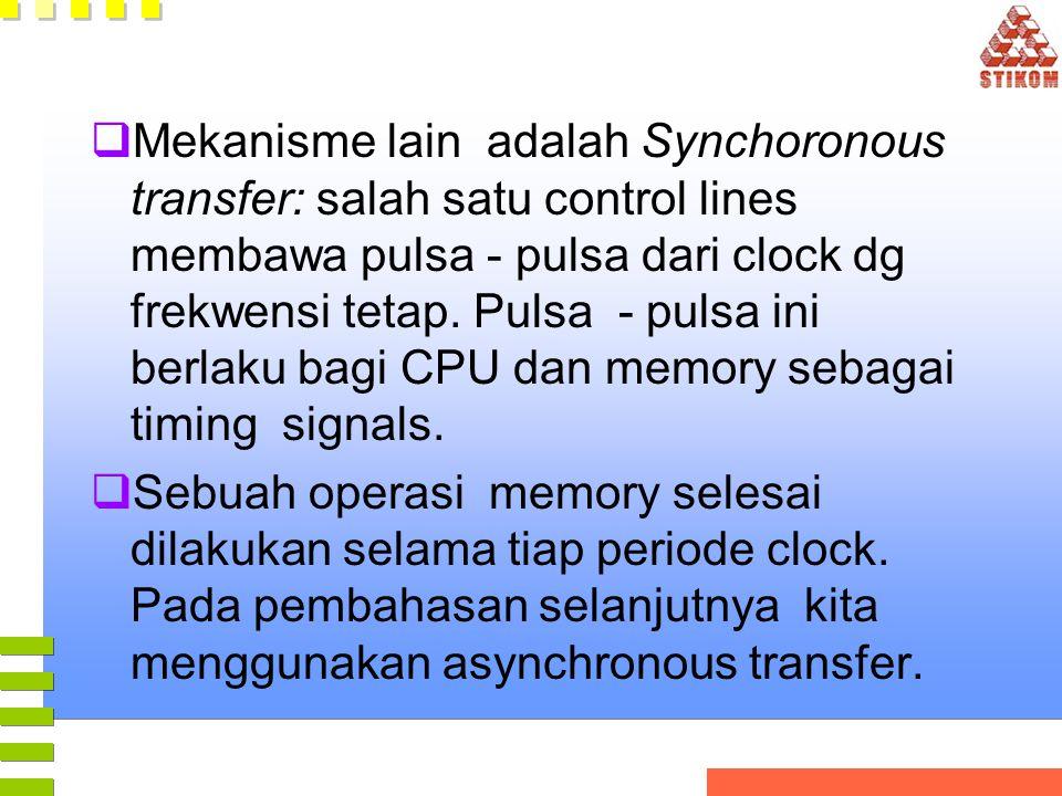  Mekanisme lain adalah Synchoronous transfer: salah satu control lines membawa pulsa - pulsa dari clock dg frekwensi tetap. Pulsa - pulsa ini berlaku