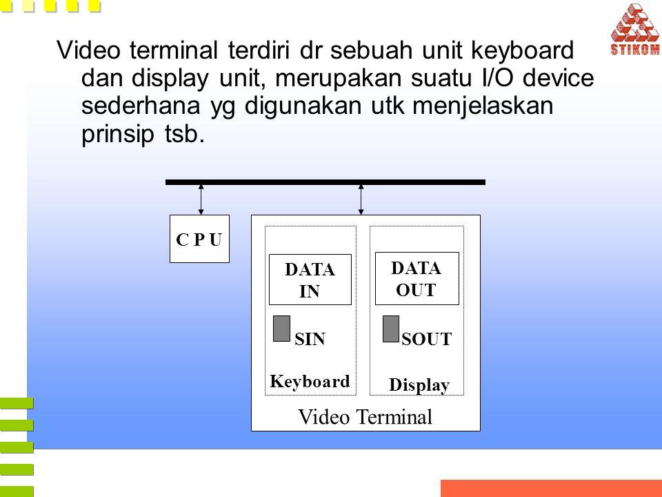 Video terminal terdiri dr sebuah unit keyboard dan display unit, merupakan suatu I/O device sederhana yg digunakan utk menjelaskan prinsip tsb. C P U