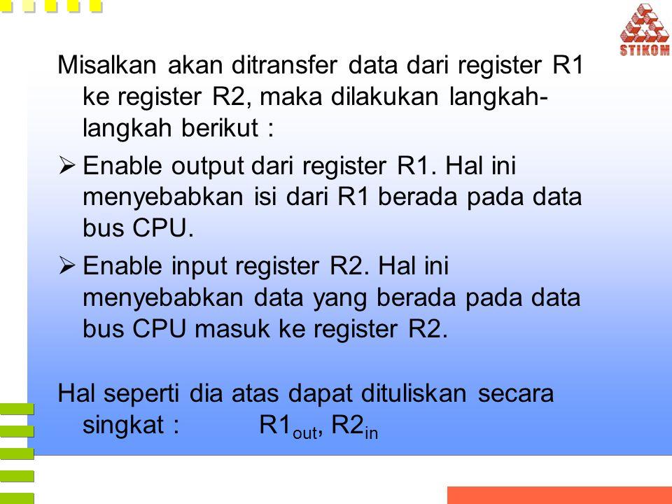Misalkan akan ditransfer data dari register R1 ke register R2, maka dilakukan langkah- langkah berikut :  Enable output dari register R1. Hal ini men