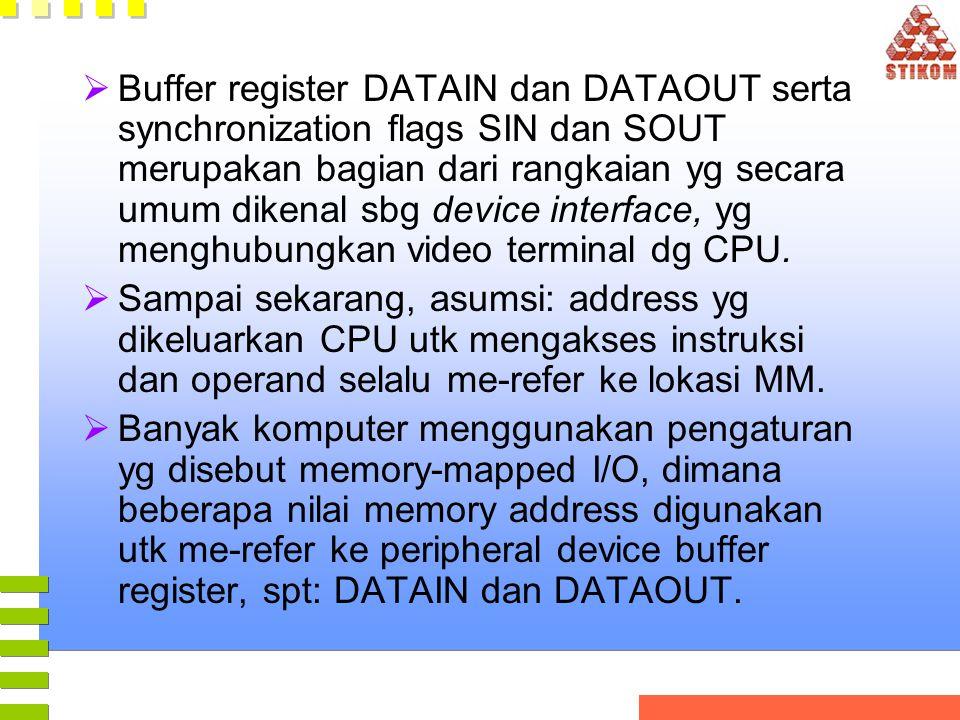  Buffer register DATAIN dan DATAOUT serta synchronization flags SIN dan SOUT merupakan bagian dari rangkaian yg secara umum dikenal sbg device interface, yg menghubungkan video terminal dg CPU.