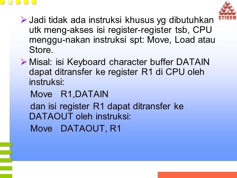  Jadi tidak ada instruksi khusus yg dibutuhkan utk meng-akses isi register-register tsb, CPU menggu-nakan instruksi spt: Move, Load atau Store.  Mis