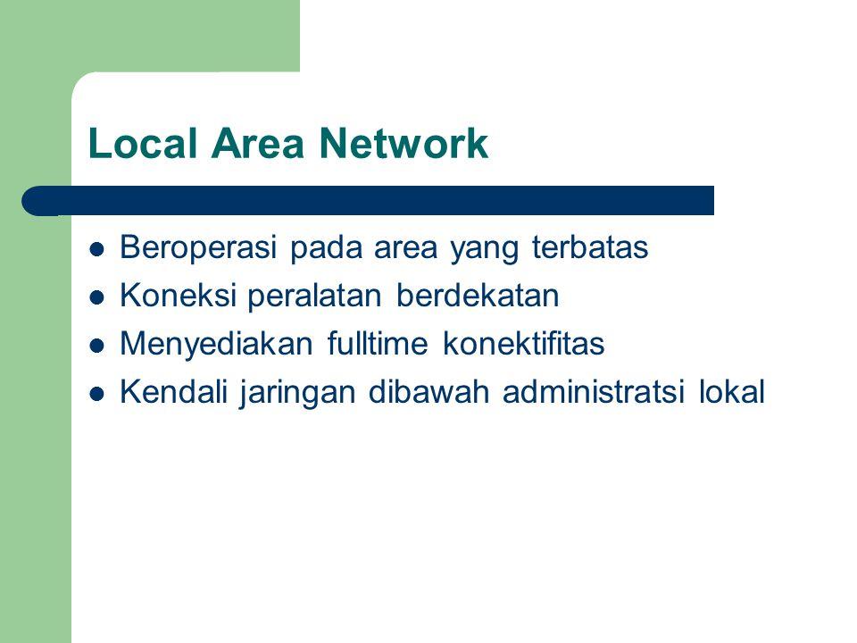Local Area Network  Beroperasi pada area yang terbatas  Koneksi peralatan berdekatan  Menyediakan fulltime konektifitas  Kendali jaringan dibawah