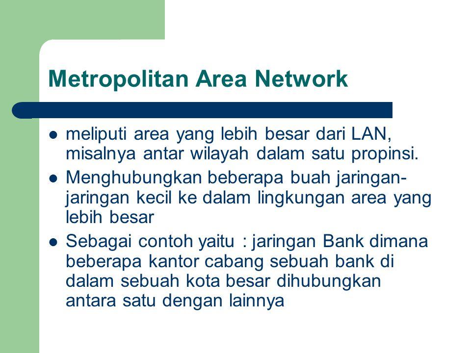 Metropolitan Area Network  meliputi area yang lebih besar dari LAN, misalnya antar wilayah dalam satu propinsi.  Menghubungkan beberapa buah jaringa
