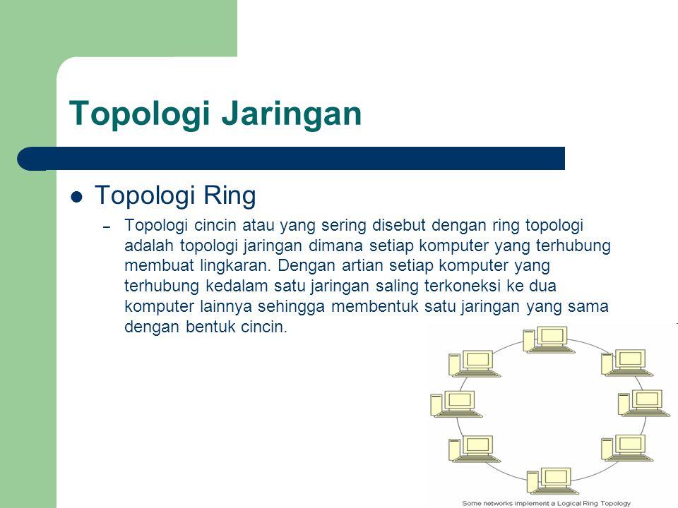 Topologi Jaringan  Topologi Ring – Topologi cincin atau yang sering disebut dengan ring topologi adalah topologi jaringan dimana setiap komputer yang
