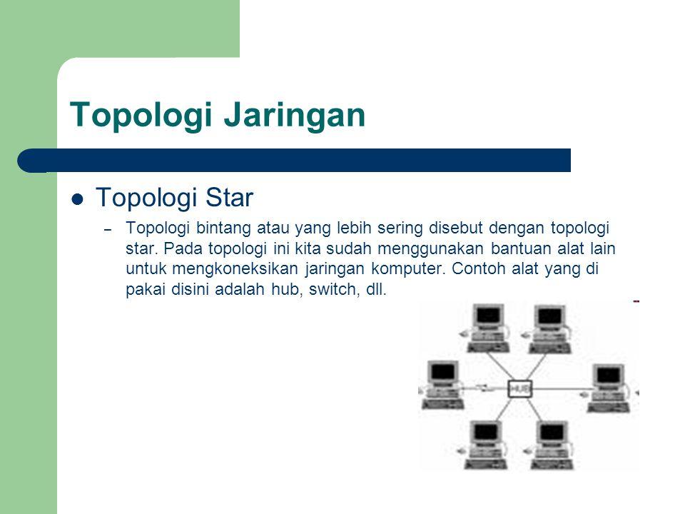 Topologi Jaringan  Topologi Star – Topologi bintang atau yang lebih sering disebut dengan topologi star. Pada topologi ini kita sudah menggunakan ban