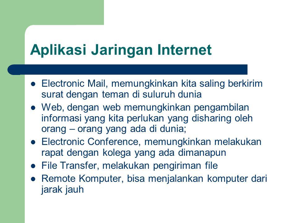 Aplikasi Jaringan Internet  Electronic Mail, memungkinkan kita saling berkirim surat dengan teman di suluruh dunia  Web, dengan web memungkinkan pen