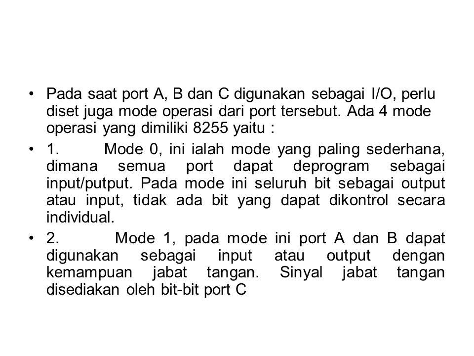 •Pada saat port A, B dan C digunakan sebagai I/O, perlu diset juga mode operasi dari port tersebut. Ada 4 mode operasi yang dimiliki 8255 yaitu : •1.