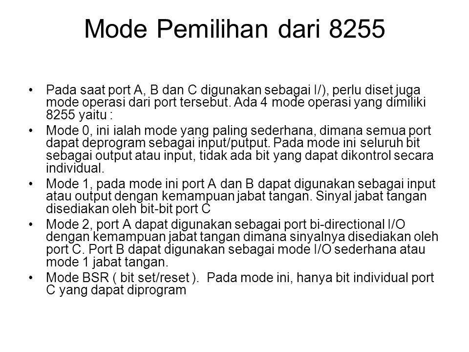 Mode Pemilihan dari 8255 •Pada saat port A, B dan C digunakan sebagai I/), perlu diset juga mode operasi dari port tersebut. Ada 4 mode operasi yang d