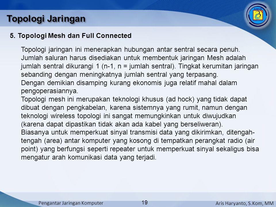 Aris Haryanto, S.Kom, MM Pengantar Jaringan Komputer 19 Topologi Jaringan 5. Topologi Mesh dan Full Connected Topologi jaringan ini menerapkan hubunga