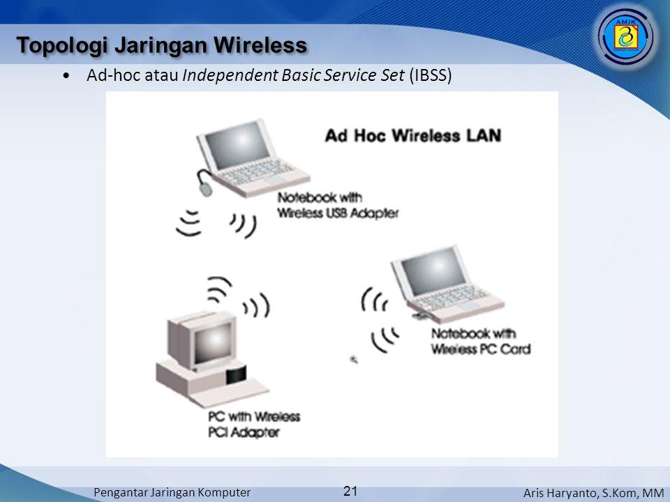 Aris Haryanto, S.Kom, MM Pengantar Jaringan Komputer 21 Topologi Jaringan Wireless •Ad-hoc atau Independent Basic Service Set (IBSS)