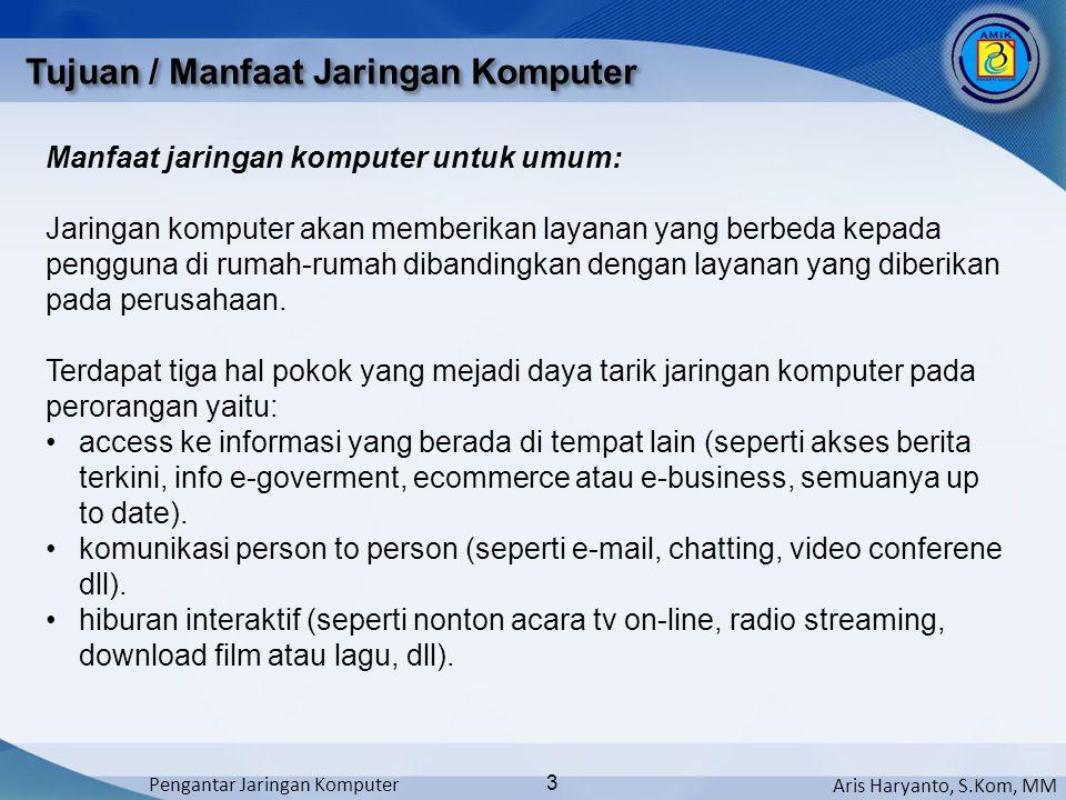Aris Haryanto, S.Kom, MM Pengantar Jaringan Komputer 3 Manfaat jaringan komputer untuk umum: Jaringan komputer akan memberikan layanan yang berbeda ke