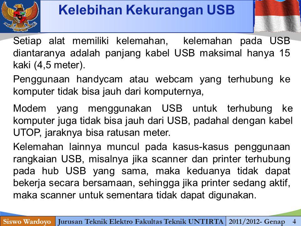 www.themegallery.com Kelebihan Kekurangan USB Siswo WardoyoJurusan Teknik Elektro Fakultas Teknik UNTIRTA2011/2012- Genap 4 Setiap alat memiliki kelemahan, kelemahan pada USB diantaranya adalah panjang kabel USB maksimal hanya 15 kaki (4,5 meter).