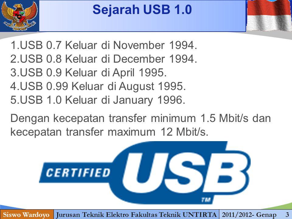 www.themegallery.com Sejarah USB 1.0 Siswo WardoyoJurusan Teknik Elektro Fakultas Teknik UNTIRTA2011/2012- Genap 3 1.USB 0.7 Keluar di November 1994.