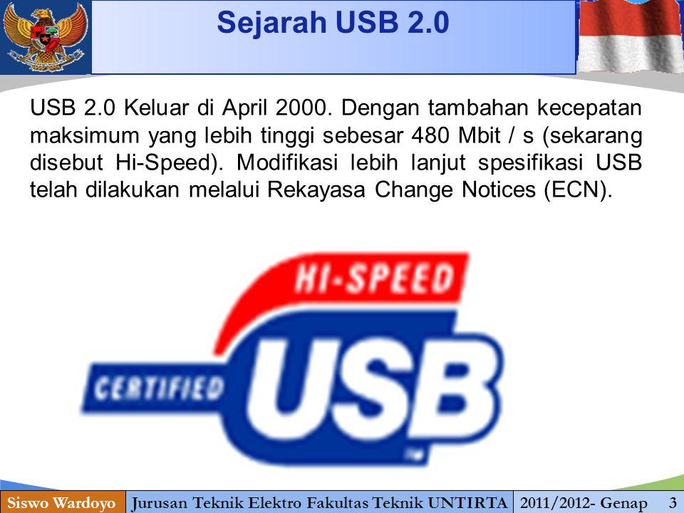 www.themegallery.com Sejarah USB 2.0 Siswo WardoyoJurusan Teknik Elektro Fakultas Teknik UNTIRTA2011/2012- Genap 3 USB 2.0 Keluar di April 2000.