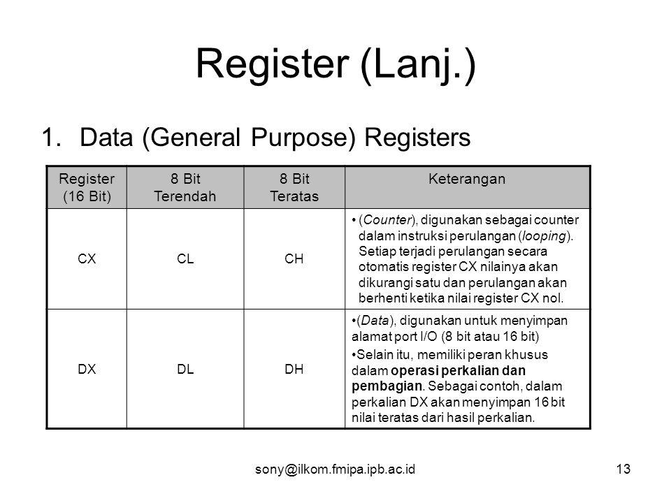 sony@ilkom.fmipa.ipb.ac.id13 Register (Lanj.) 1.Data (General Purpose) Registers Register (16 Bit) 8 Bit Terendah 8 Bit Teratas Keterangan CXCLCH •(Counter), digunakan sebagai counter dalam instruksi perulangan (looping).