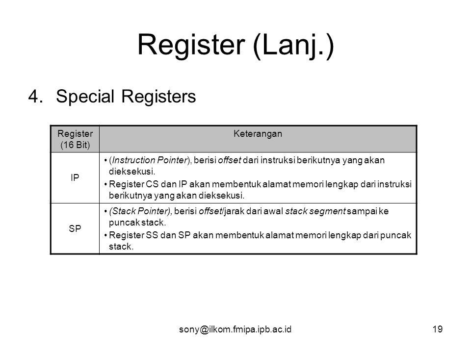 sony@ilkom.fmipa.ipb.ac.id19 Register (Lanj.) 4.Special Registers Register (16 Bit) Keterangan IP •(Instruction Pointer), berisi offset dari instruksi berikutnya yang akan dieksekusi.