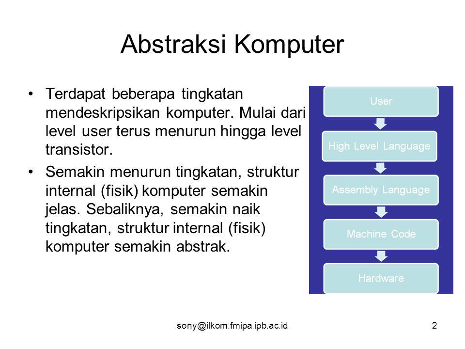 sony@ilkom.fmipa.ipb.ac.id3 Bahasa Assembly •Merupakan bahasa pemrograman dengan korespondensi satu-ke- satu antara statemen-statemennya (instruksi-instruksinya) dengan bahasa mesin yang dipahami oleh CPU.