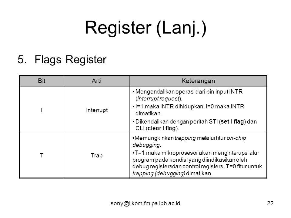 sony@ilkom.fmipa.ipb.ac.id22 Register (Lanj.) 5.Flags Register BitArtiKeterangan IInterrupt •Mengendalikan operasi dari pin input INTR (interrupt request).