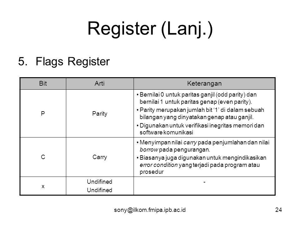sony@ilkom.fmipa.ipb.ac.id24 Register (Lanj.) 5.Flags Register BitArtiKeterangan PParity •Bernilai 0 untuk paritas ganjil (odd parity) dan bernilai 1 untuk paritas genap (even parity).