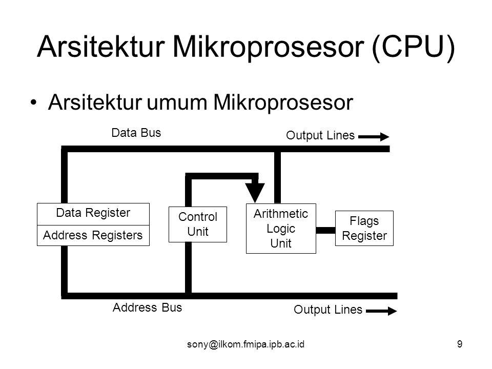 sony@ilkom.fmipa.ipb.ac.id9 Arsitektur Mikroprosesor (CPU) •Arsitektur umum Mikroprosesor Data Register Address Registers Control Unit Arithmetic Logic Unit Flags Register Data Bus Address Bus Output Lines