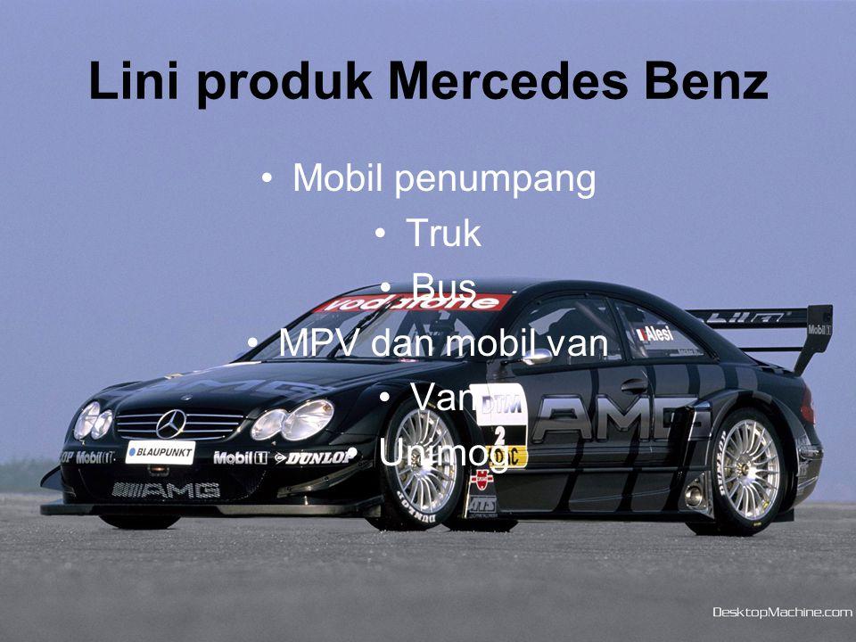 Kategori mobil penumpang, Mercedes benz memiliki banyak sekali jenis mobil yang ditawarkan, mulai dari seri A, B, C, E, S, SLK, SL, CLK, CLS, SLR, M, GL, G, R, dan Sollution CLASS.