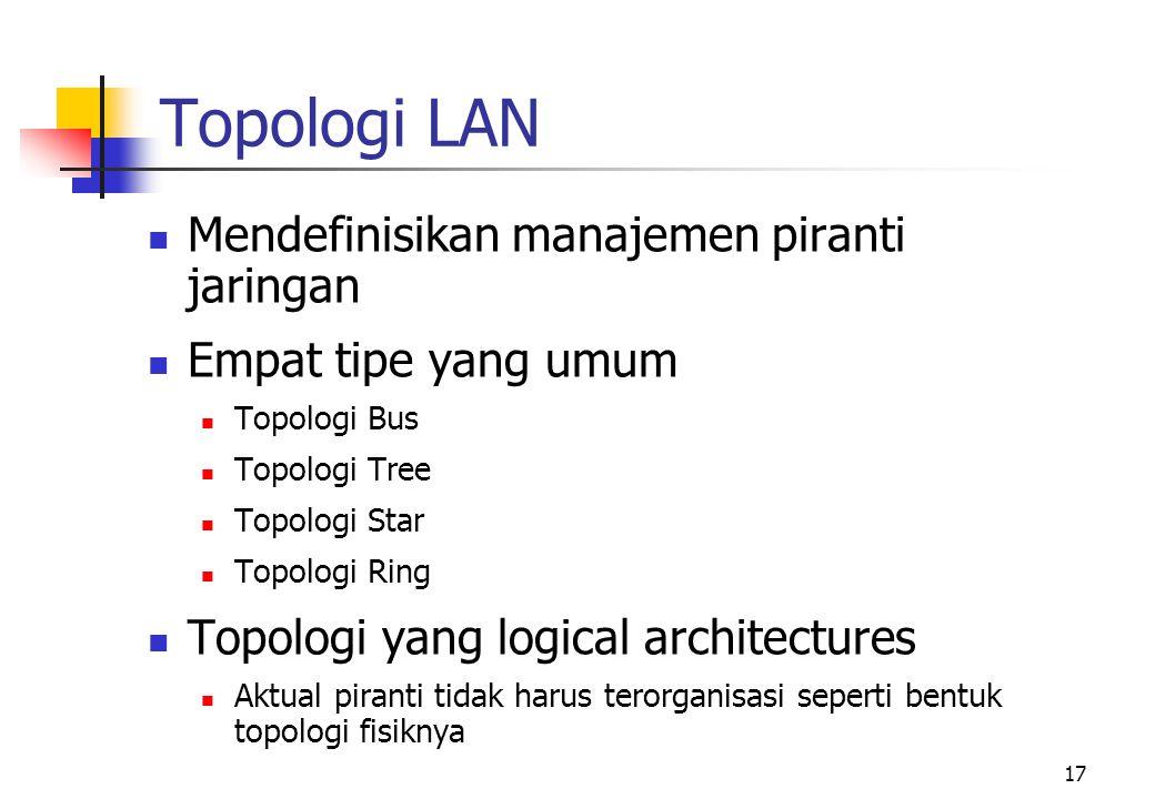 17 Topologi LAN  Mendefinisikan manajemen piranti jaringan  Empat tipe yang umum  Topologi Bus  Topologi Tree  Topologi Star  Topologi Ring  Topologi yang logical architectures  Aktual piranti tidak harus terorganisasi seperti bentuk topologi fisiknya