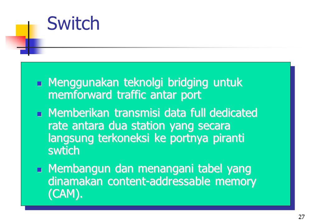 27 Switch  Menggunakan teknolgi bridging untuk memforward traffic antar port  Memberikan transmisi data full dedicated rate antara dua station yang secara langsung terkoneksi ke portnya piranti swtich  Membangun dan menangani tabel yang dinamakan content-addressable memory (CAM).
