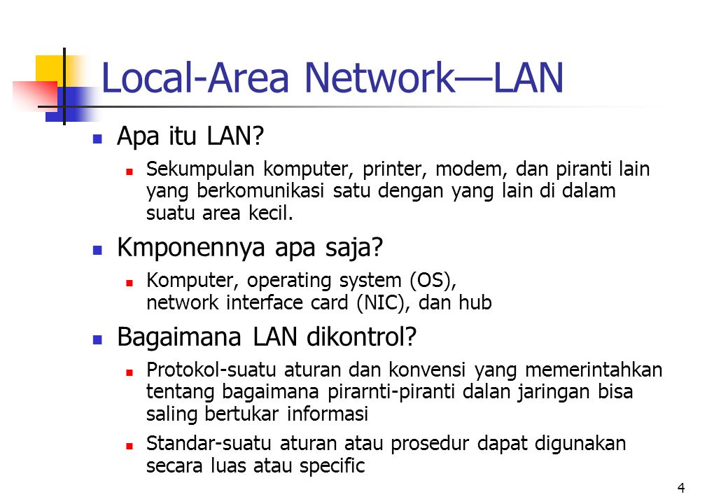 15 Throughput Rate dan Bandwidth  Throughput rate  Kecepatan kedatangan informasi, and possibly passing through dan yang lewat, apada suatu titik di dalam jaringan  Bandwidth  Total kapasitas dari media jaringan atau protokol yang dipakai THROUGHPUT = BANDWIDTH - OVERHEAD
