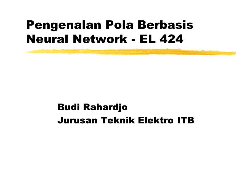 1999-2000 v1.1 EL-424 Pengenalan Pola dengan Neural Nets - Budi Rahardjo32 Minimizing Mean Square Error zLMS procedure, latar belakang zError function, must be minimized.