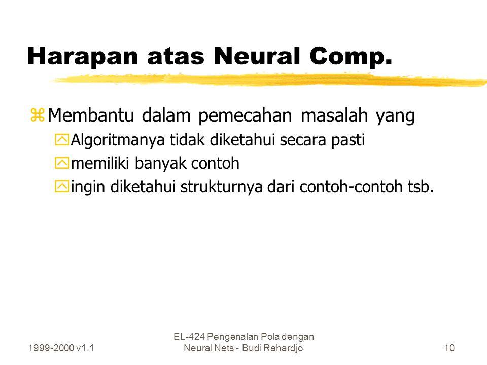 1999-2000 v1.1 EL-424 Pengenalan Pola dengan Neural Nets - Budi Rahardjo10 Harapan atas Neural Comp. zMembantu dalam pemecahan masalah yang yAlgoritma