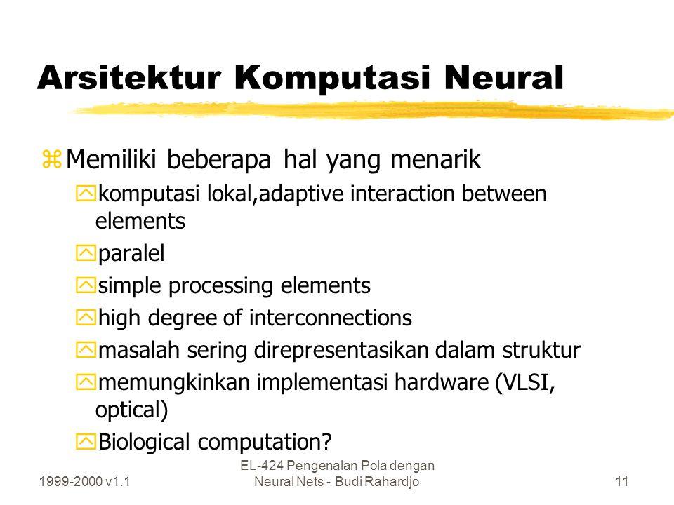 1999-2000 v1.1 EL-424 Pengenalan Pola dengan Neural Nets - Budi Rahardjo11 Arsitektur Komputasi Neural zMemiliki beberapa hal yang menarik ykomputasi
