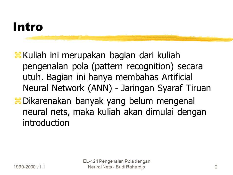 1999-2000 v1.1 EL-424 Pengenalan Pola dengan Neural Nets - Budi Rahardjo2 Intro zKuliah ini merupakan bagian dari kuliah pengenalan pola (pattern reco