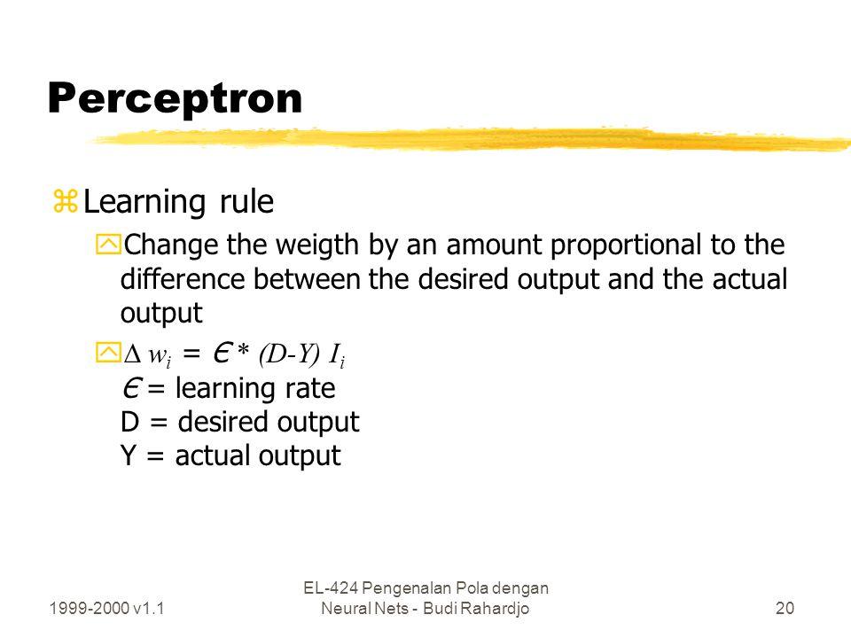 1999-2000 v1.1 EL-424 Pengenalan Pola dengan Neural Nets - Budi Rahardjo20 Perceptron zLearning rule yChange the weigth by an amount proportional to t