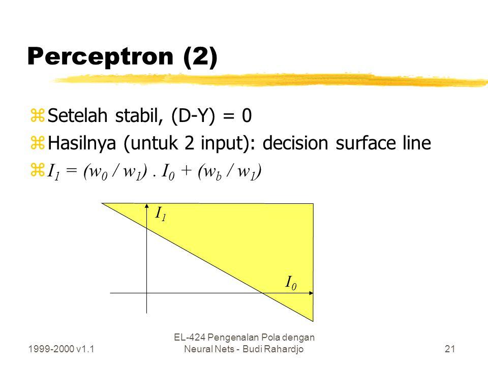 1999-2000 v1.1 EL-424 Pengenalan Pola dengan Neural Nets - Budi Rahardjo21 Perceptron (2) zSetelah stabil, (D-Y) = 0 zHasilnya (untuk 2 input): decisi
