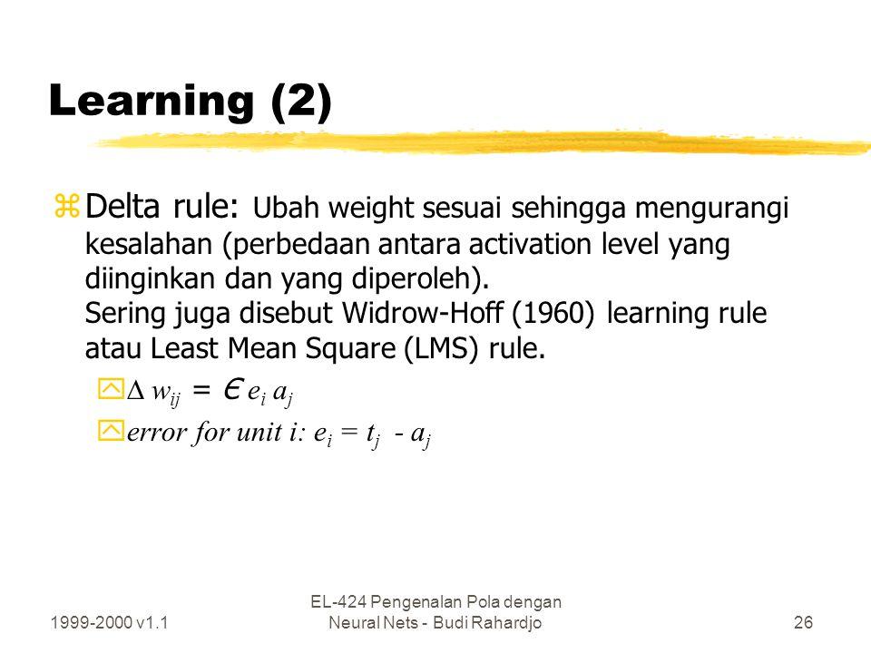 1999-2000 v1.1 EL-424 Pengenalan Pola dengan Neural Nets - Budi Rahardjo26 Learning (2) zDelta rule: Ubah weight sesuai sehingga mengurangi kesalahan