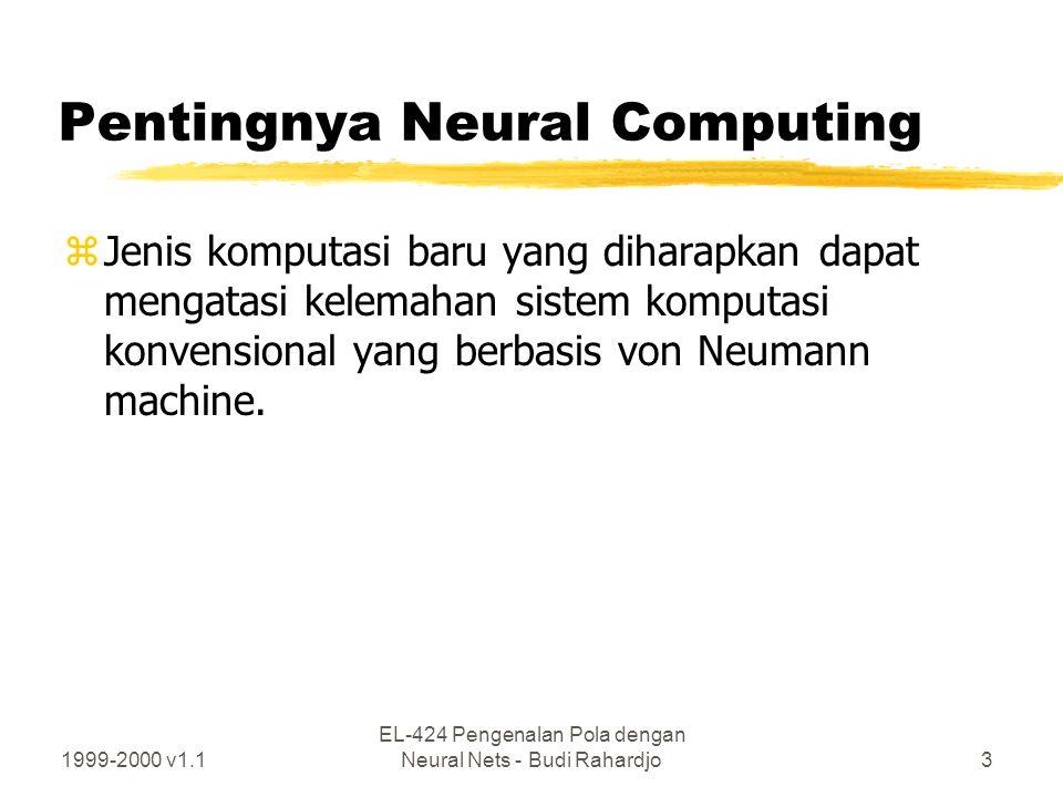 1999-2000 v1.1 EL-424 Pengenalan Pola dengan Neural Nets - Budi Rahardjo3 Pentingnya Neural Computing zJenis komputasi baru yang diharapkan dapat meng