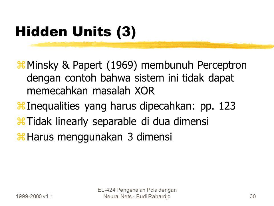 1999-2000 v1.1 EL-424 Pengenalan Pola dengan Neural Nets - Budi Rahardjo30 Hidden Units (3) zMinsky & Papert (1969) membunuh Perceptron dengan contoh