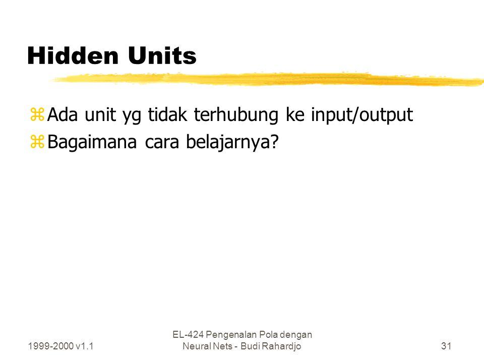 1999-2000 v1.1 EL-424 Pengenalan Pola dengan Neural Nets - Budi Rahardjo31 Hidden Units zAda unit yg tidak terhubung ke input/output zBagaimana cara b