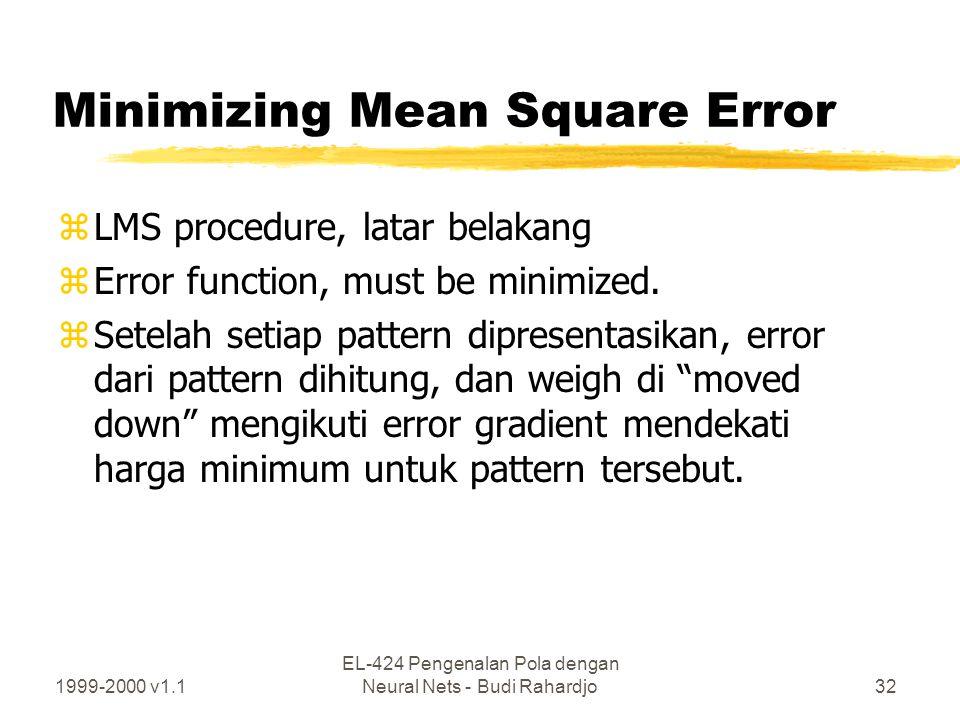 1999-2000 v1.1 EL-424 Pengenalan Pola dengan Neural Nets - Budi Rahardjo32 Minimizing Mean Square Error zLMS procedure, latar belakang zError function