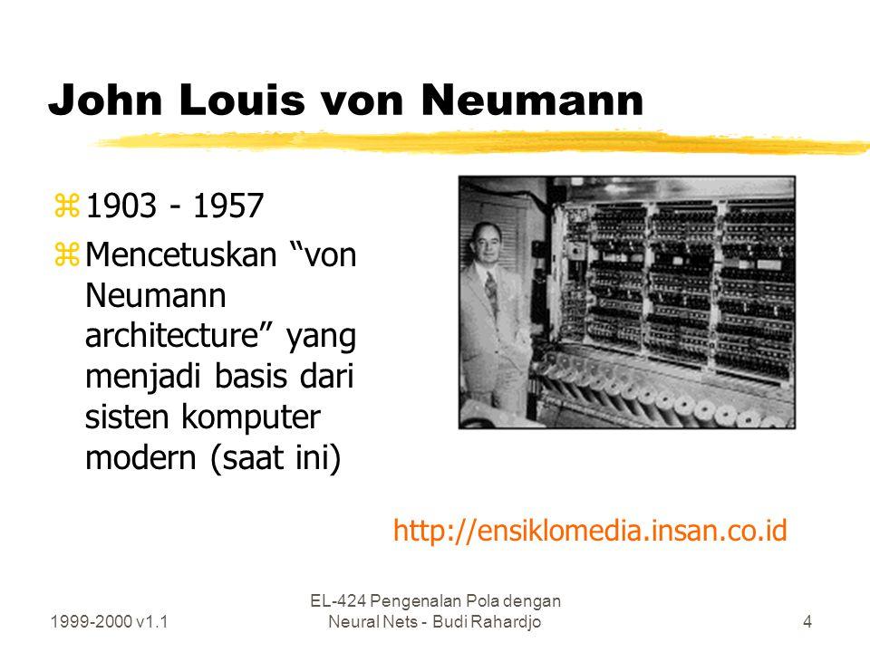 1999-2000 v1.1 EL-424 Pengenalan Pola dengan Neural Nets - Budi Rahardjo5 Von Neumann architecture Arithmetic unit (ALU) Contol unit Input/output unit (I/O unit) Intenal (main) memory Secondary memory (magnetic wire) Teletype (keyboard/printer) CRT graphics display Central Processing Unit (CPU) Internal bus External bus