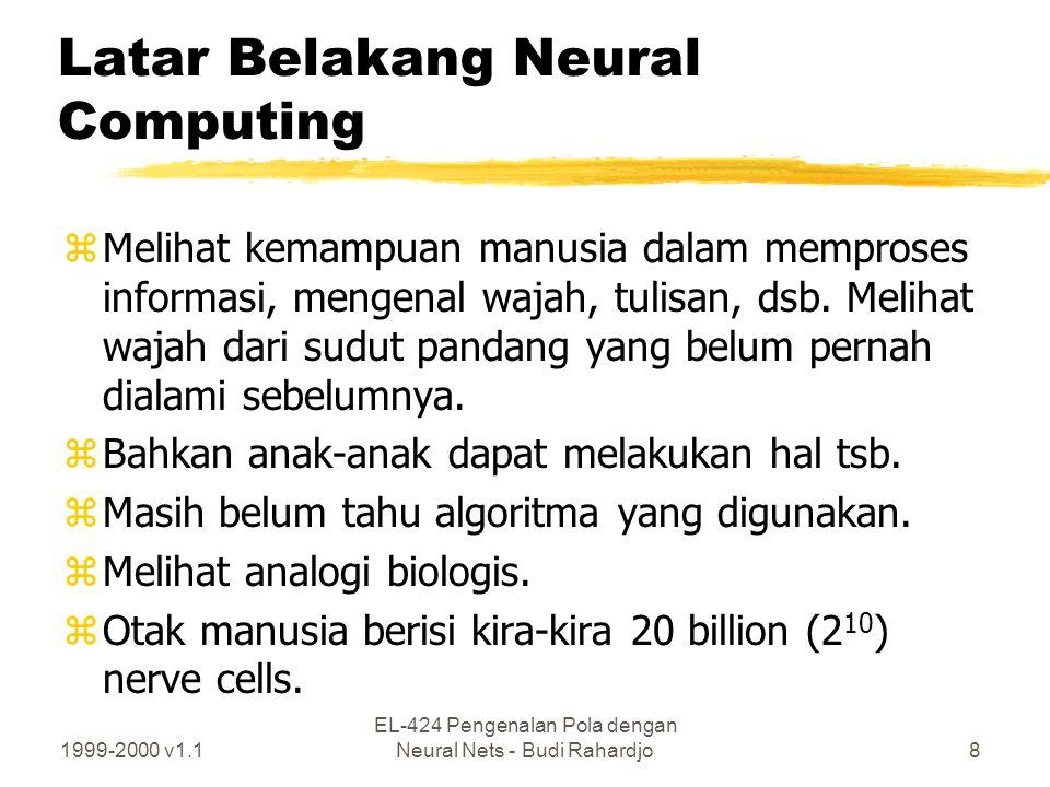 1999-2000 v1.1 EL-424 Pengenalan Pola dengan Neural Nets - Budi Rahardjo9 Latar belakang (2) zDipercayai bahwa kekuatan komputasi otak terletak pada yhubungan antar nerve cells, yhierarchical organization, yfiring characteristics, ybanyaknya jumlah hubugnan