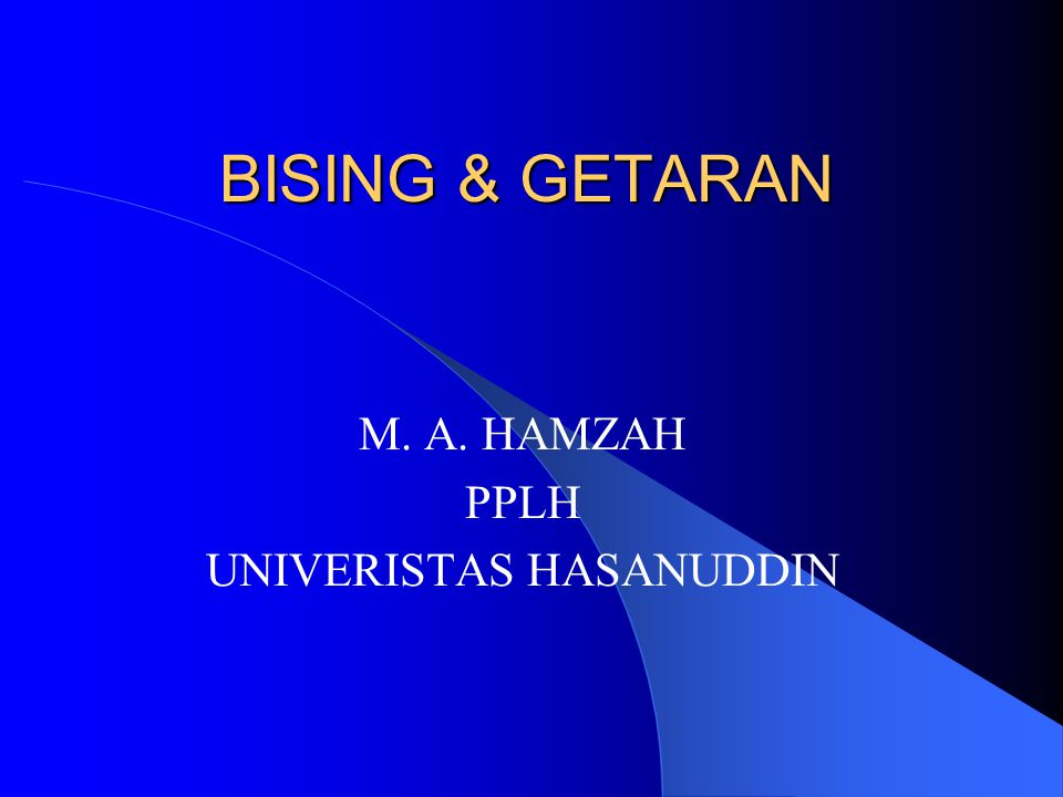 BISING & GETARAN M. A. HAMZAH PPLH UNIVERISTAS HASANUDDIN