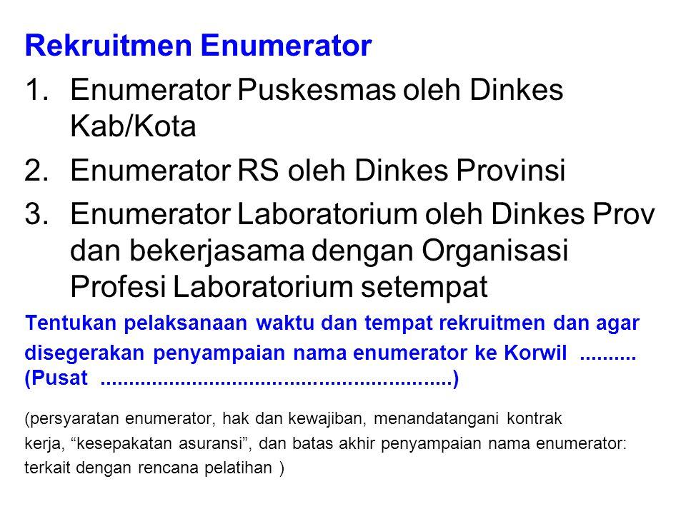 Rekruitmen Enumerator 1.Enumerator Puskesmas oleh Dinkes Kab/Kota 2.Enumerator RS oleh Dinkes Provinsi 3.Enumerator Laboratorium oleh Dinkes Prov dan